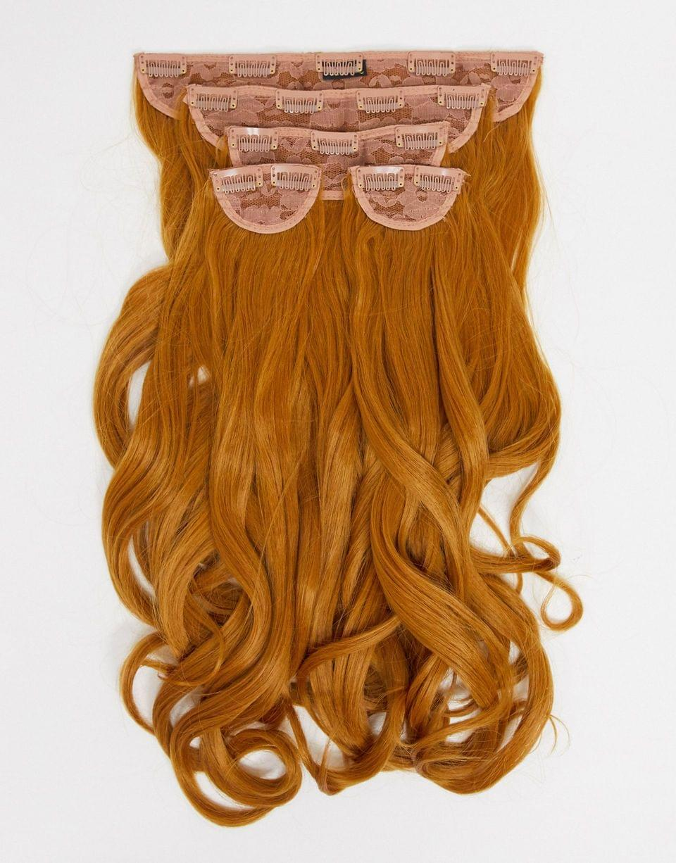 LullaBellz super thick 22 inch 5 piece blow dry wavy clip in hair extensions in strawberry blonde