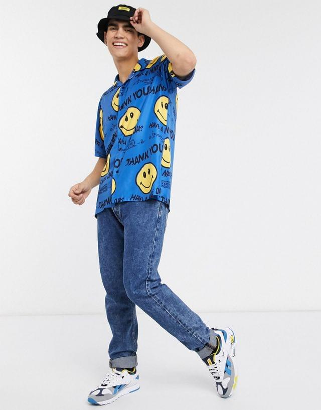 MEN Chinatown Market Smiley Twisted Face shirt in blue