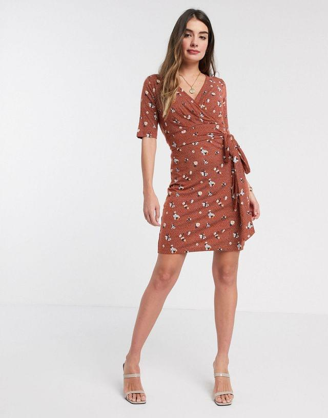 WOMEN Mamalicious Maternity wrap dress with nursing function in ditsy floral print