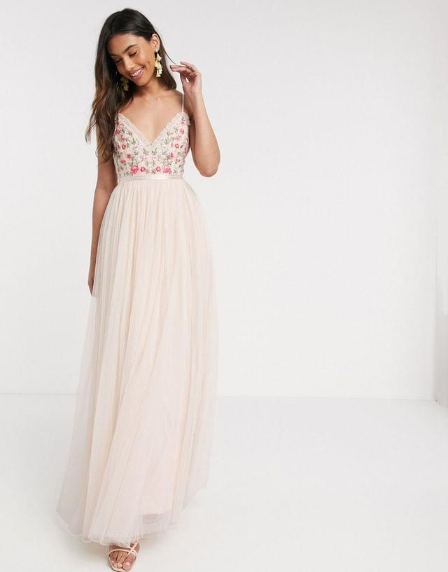 WOMEN Needle & Thread embroidered cami gown in blush