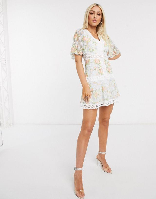 WOMEN Love Triangle plunge mini skater dress in printed lace