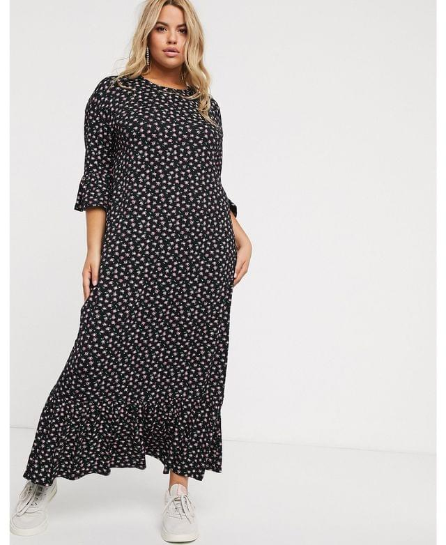 WOMEN Wednesday's Girl Curve maxi smock dress with peplum hem in ditsy floral