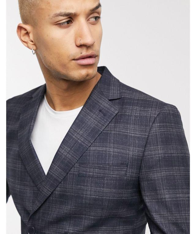 MEN boohooMAN tonal check double breasted suit jacket in navy