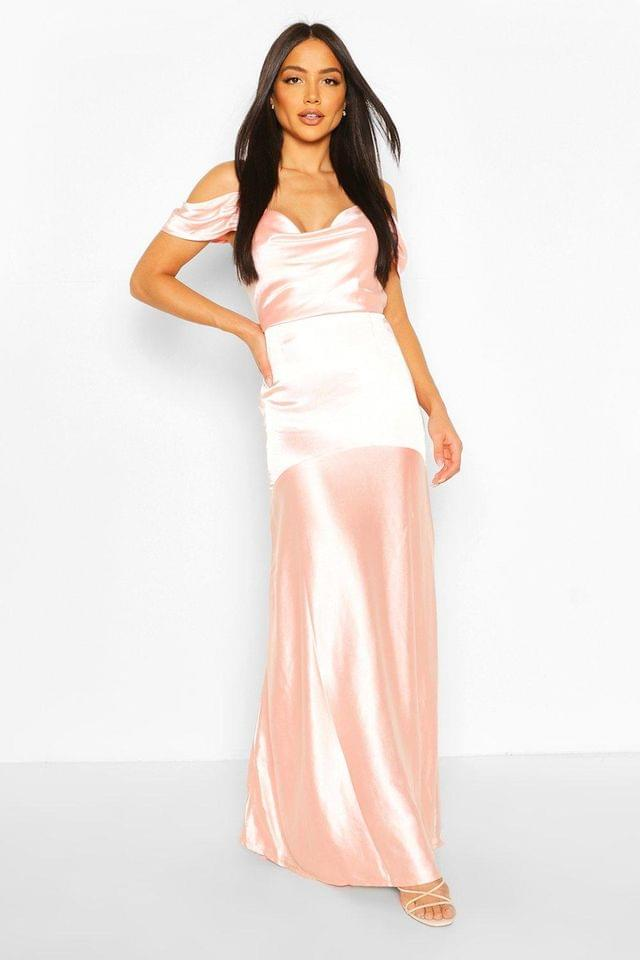 WOMEN Occasion Satin Cowl Peplum Hem Maxi Dress