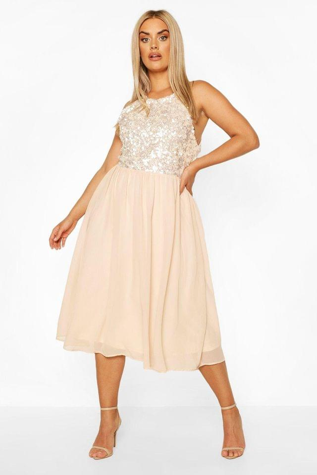 WOMEN Plus Occasion Sequin Midi Dress