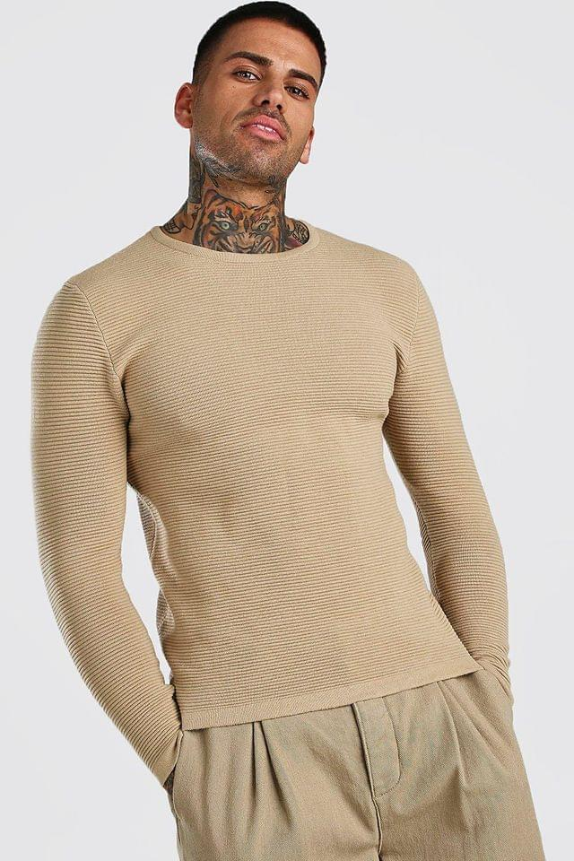 Men's Knitted Ribbed Long Sleeve Jumper