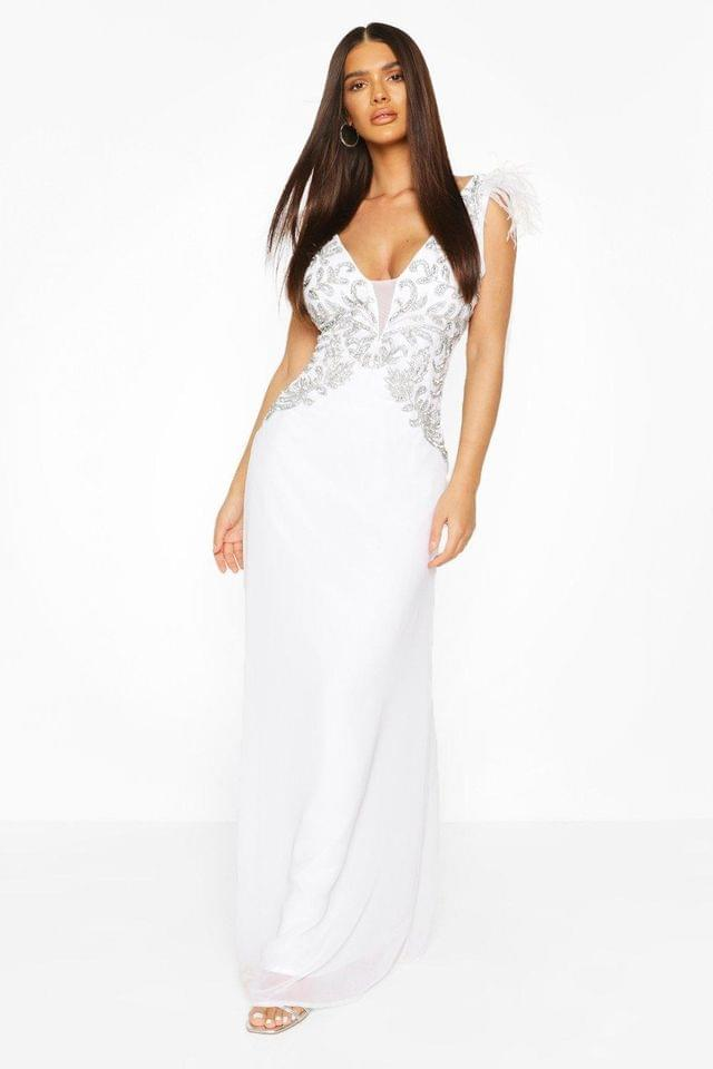 WOMEN Occasion Hand Embellished Feather Maxi Dress
