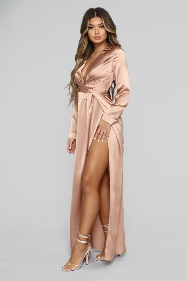 WOMEN Don't Slip Away Maxi Dress - Champagne