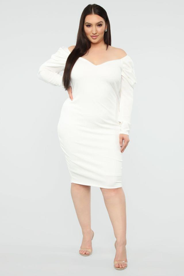 WOMEN Dinner Party Off Shoulder Midi Dress - White