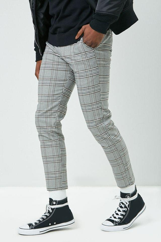 MEN Plaid Woven Trousers