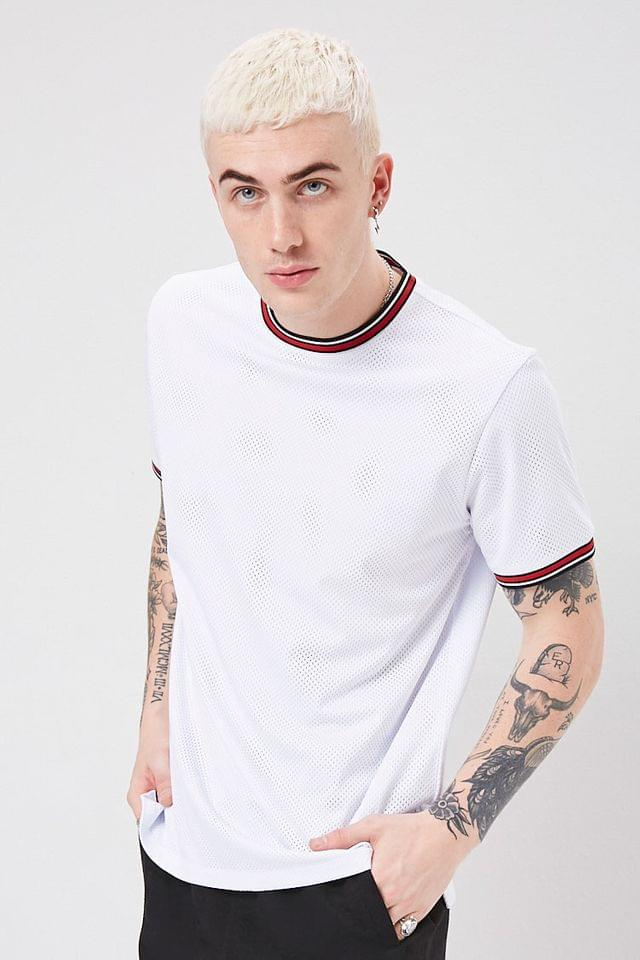 MEN Striped-Trim Jersey Mesh Tee