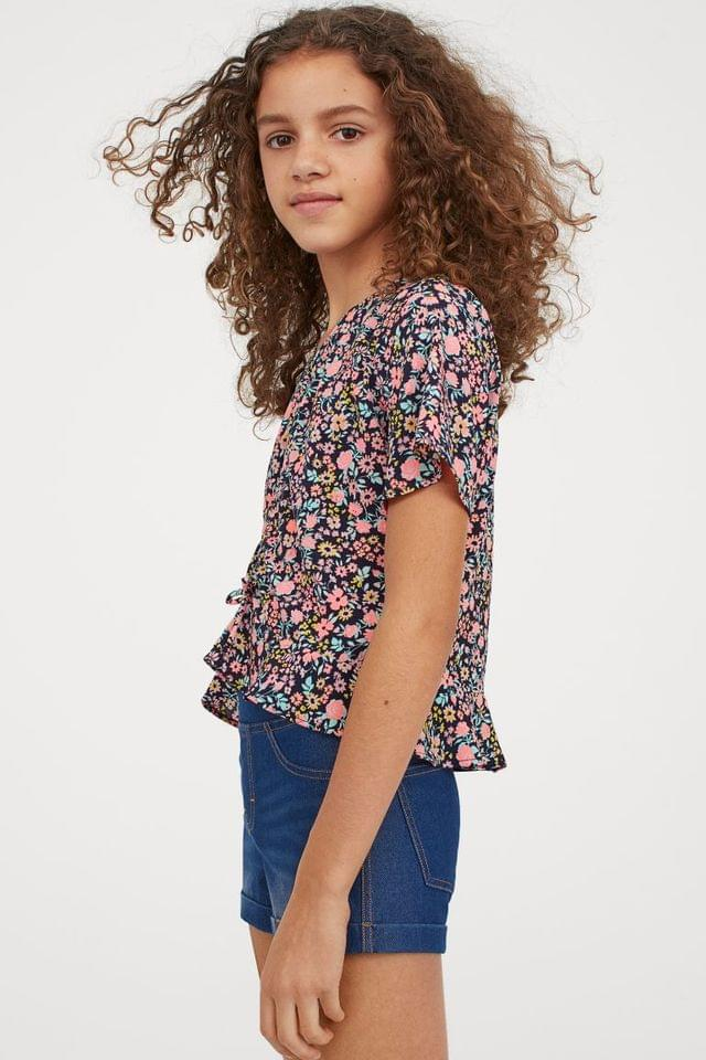 Girl's Flounce-trimmed Blouse