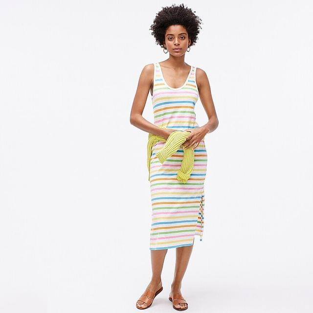 WOMEN U-neck tank dress in rainbow stripe