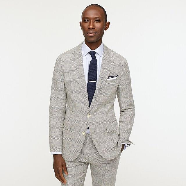 MEN Ludlow Slim-fit suit jacket in Italian linen-wool