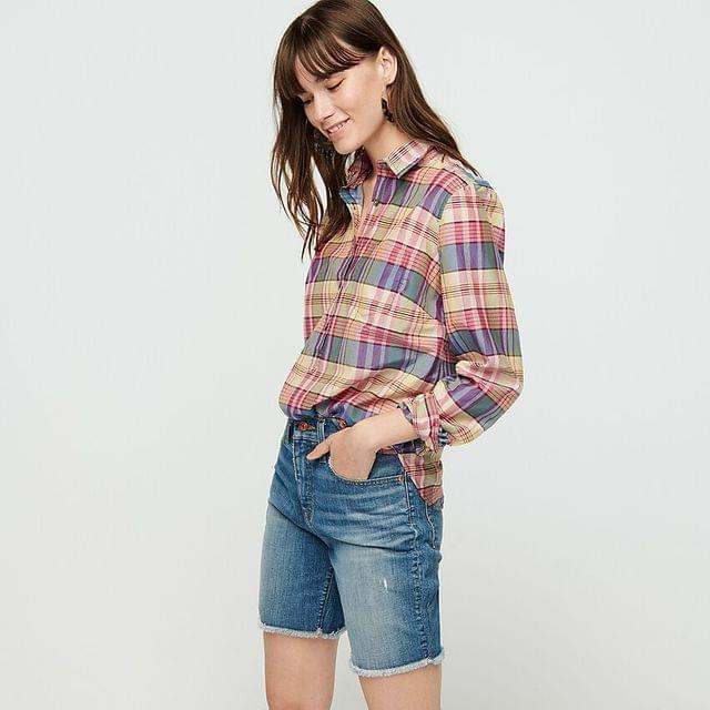 WOMEN Classic popover shirt in plaid print