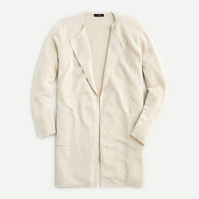 WOMEN Juliette collarless sweater-blazer in linen