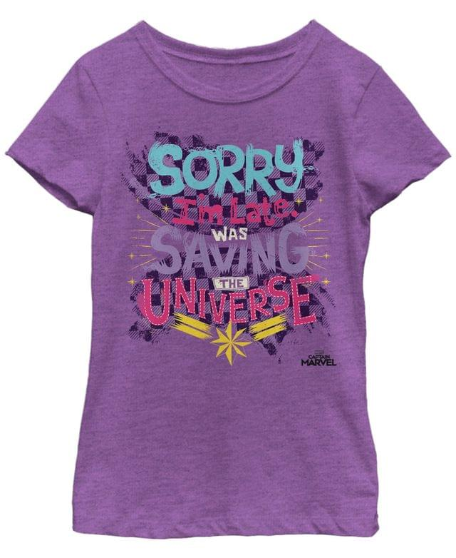 KIDS Marvel Big Girls Captain Marvel Sorry I'm Late Colorful Quote Short Sleeve T-Shirt