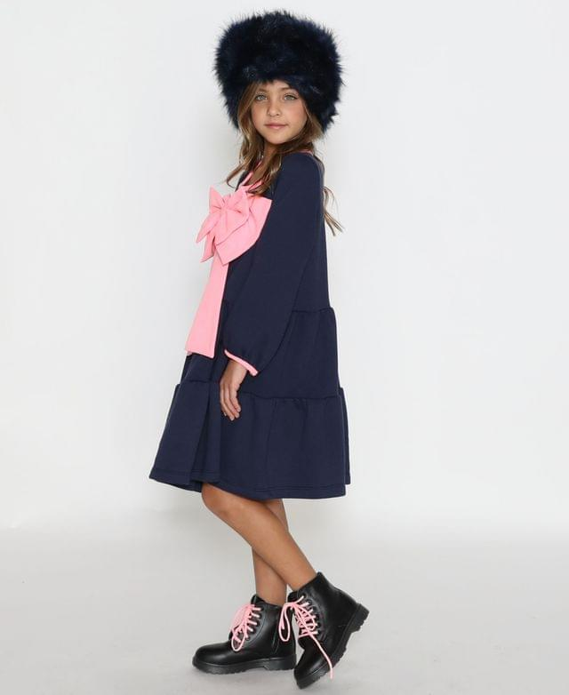 KIDS Little Girls A-Line Long Sleeve Dress with A Gathered Skirt and A Pink Bow On The Center