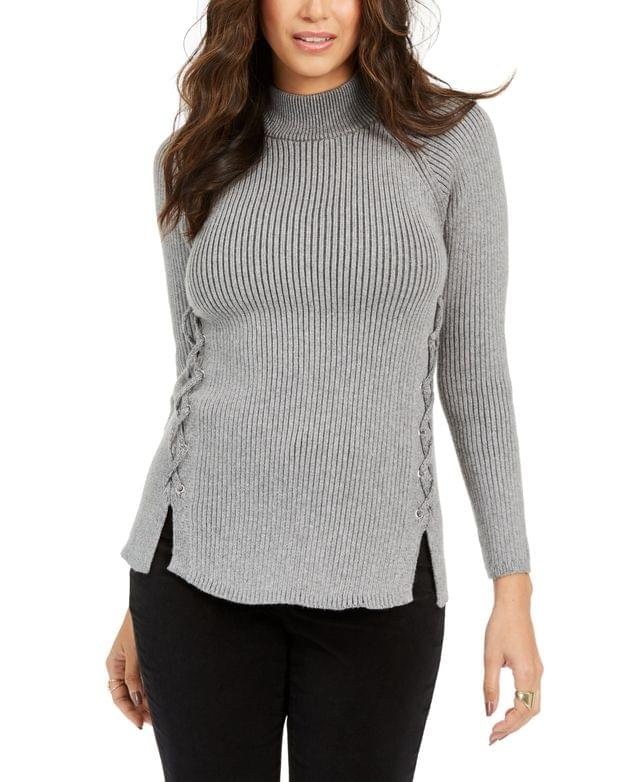 WOMEN Mock Neck Lace-Up Ribbed Knit Sweater