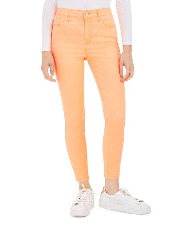 WOMEN Juniors' Neon Colored-Wash Skinny Ankle Jeans