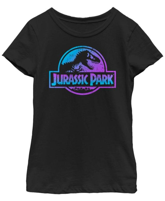 KIDS Jurassic Park Big Girls Blue Purple Fossil Logo Short Sleeve T-Shirt