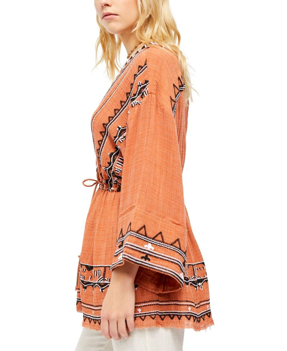Women's Saffron Embroidered Tunic Top