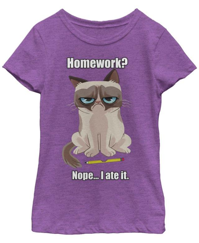 KIDS Grumpy Cat Big Girls Ate My Homework Back To School Short Sleeve T-Shirt