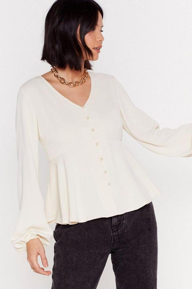 Women's Button a Serious Note Relaxed Button-Down Blouse