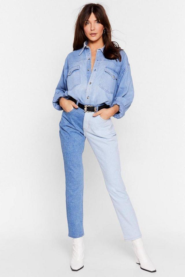 WOMEN Best of Both Worlds Two-Tone Mom Jeans