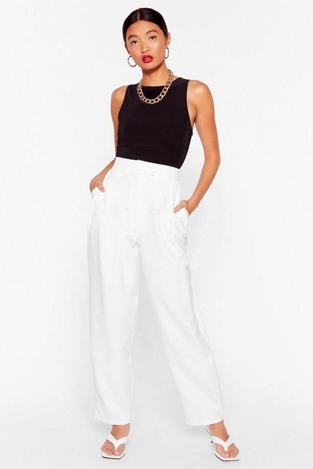 WOMEN Get to the Bottom of It High-Waisted Tapered Pants
