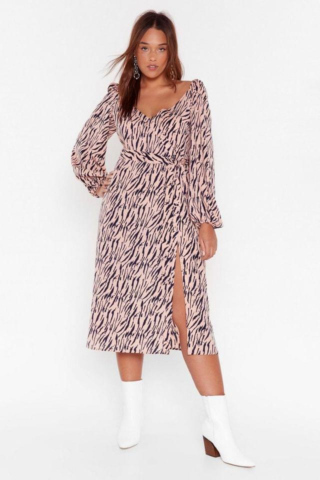 WOMEN Zebra Print Plus Midi Dress with V-Neckline