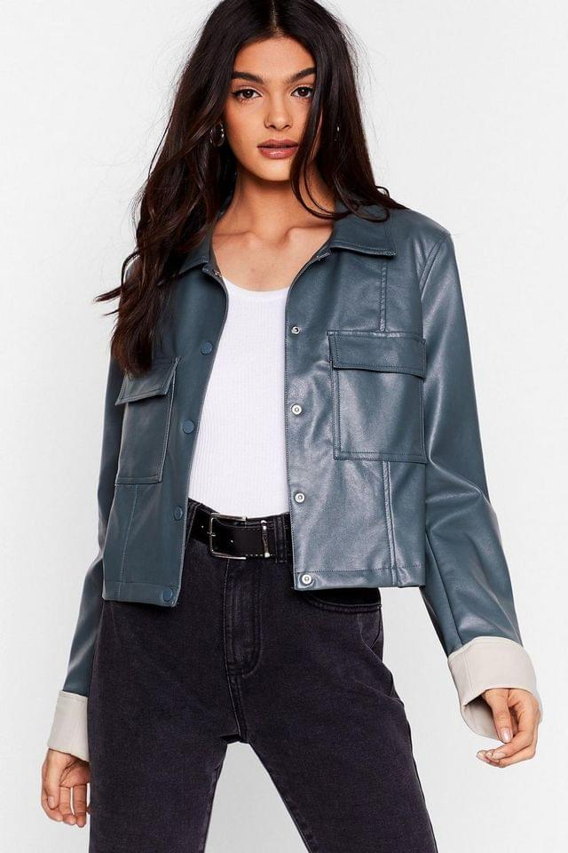 Women's Cause a Jacket Faux Leather Cropped Jacket