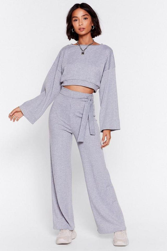 WOMEN Rib Crew Neck Cropped Sweat + Wide Leg Trouser