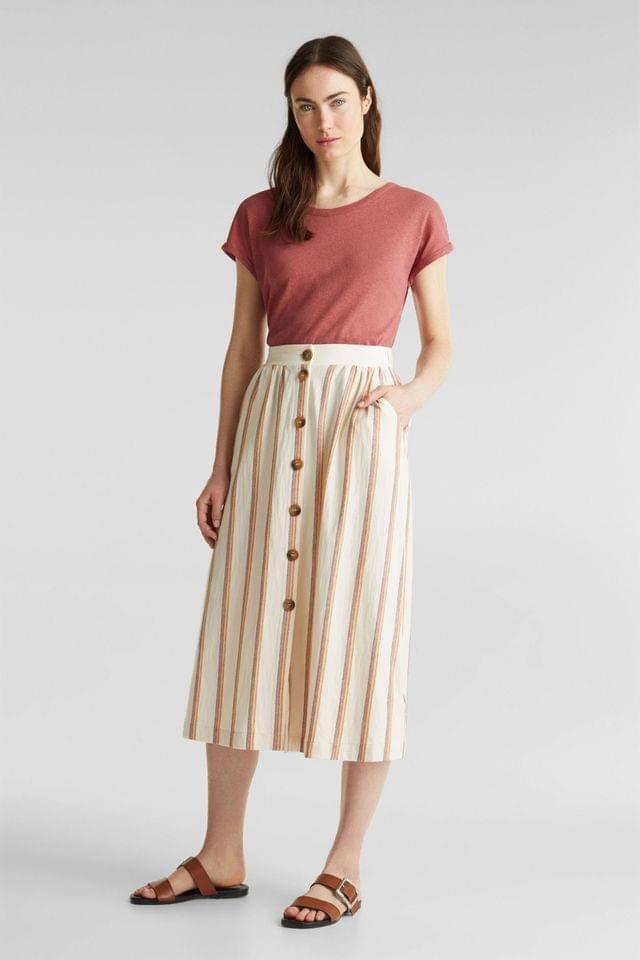 WOMEN Esprit Orange Striped Linen Knitted Skirt With Buttons