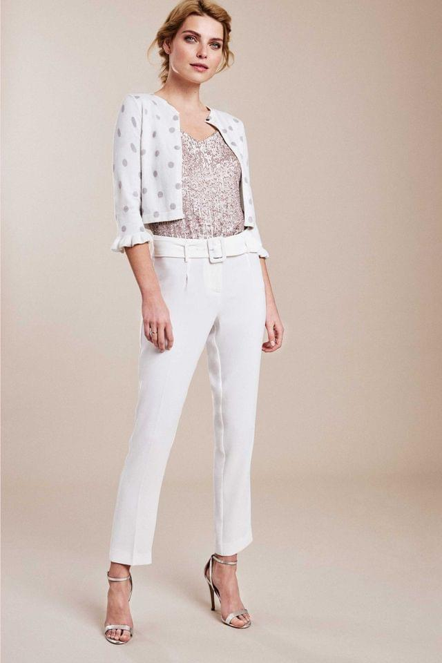 WOMEN Pure Collection White Crepe Slim Leg Belted Trousers