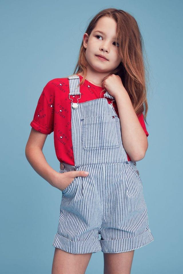 KIDS Tommy Hilfiger Blue Striped Dungaree Shorts
