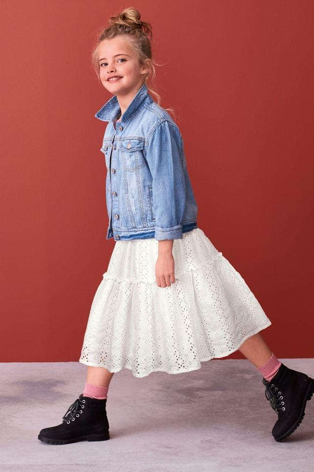 KIDS White Broderie Tiered Maxi Skirt (3-16yrs)