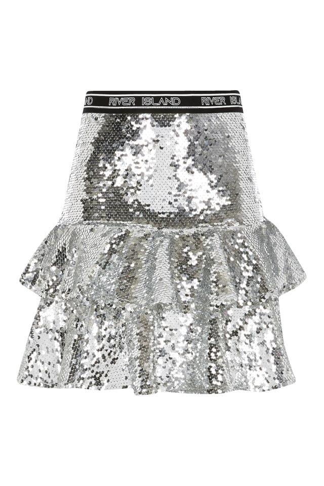 KIDS River Island Silver Sequin Rara Skirt