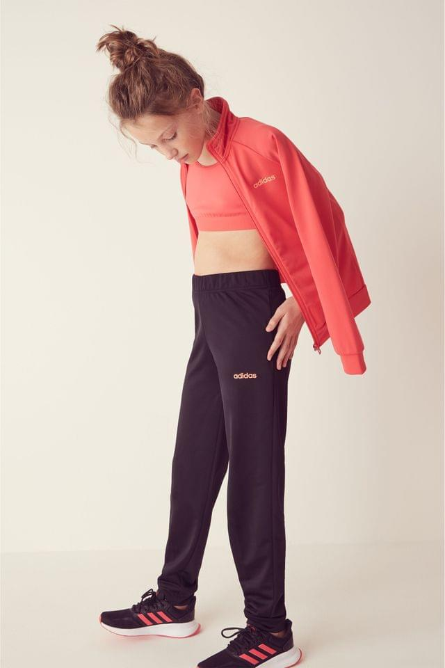 Girl's adidas Pink/Black Linear Logo Poly Tracksuit