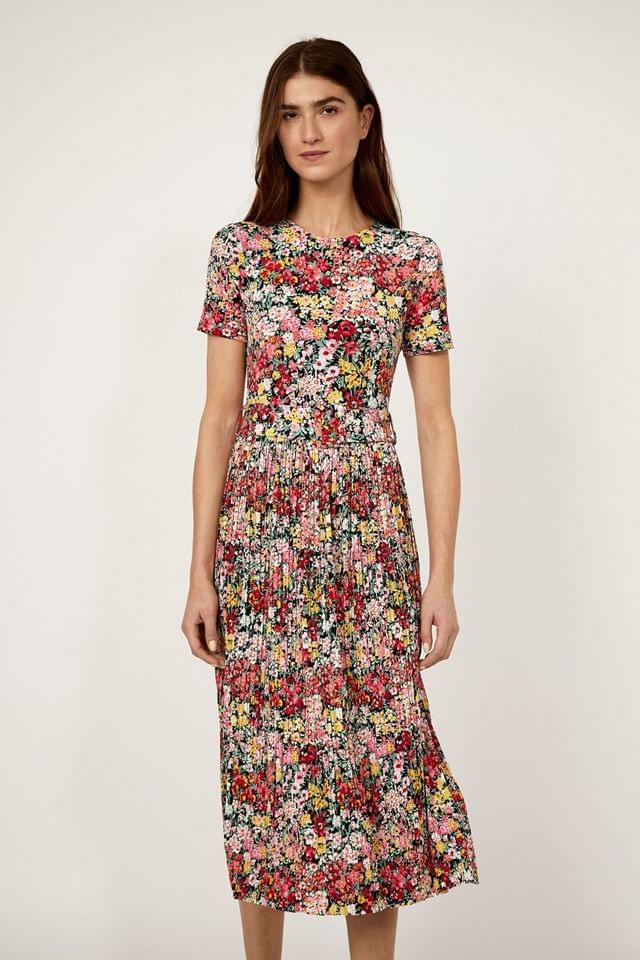 WOMEN Warehouse Pink Floral Micro Pleat Midi Dress