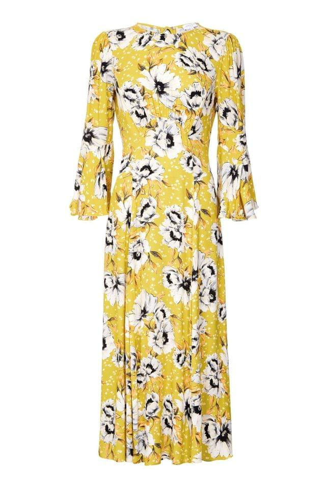 WOMEN Ghost London Orange Luisa Poppy Print Crepe Dress