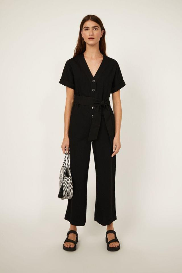 WOMEN Warehouse Black Short Sleeve Belted Jumpsuit