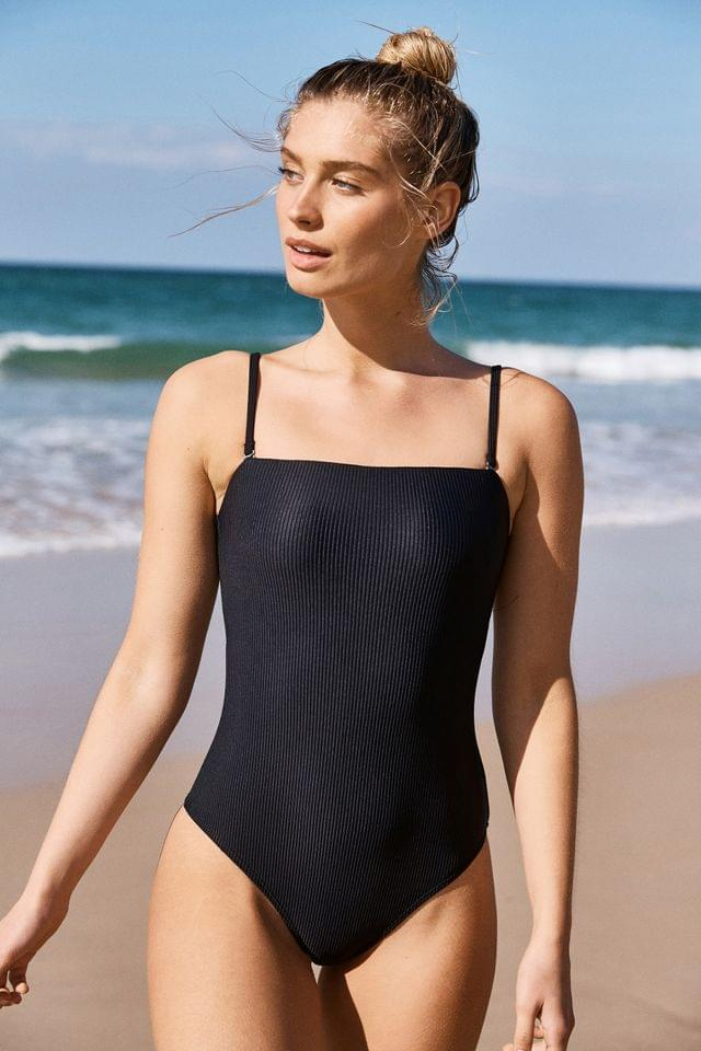 WOMEN Cotton On Ribbed Bandeau Swimsuit