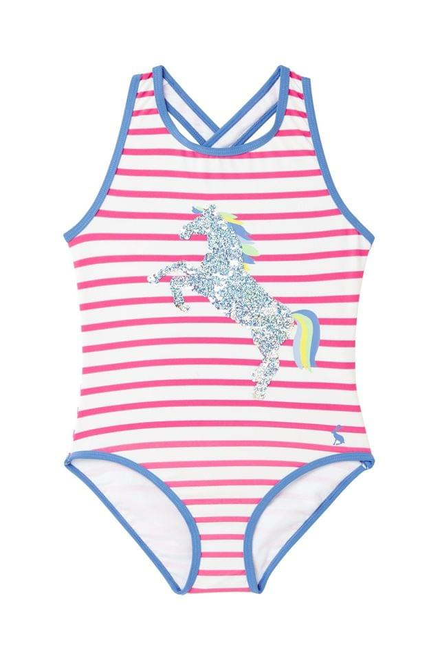 KIDS Joules Pink Briony Luxe Appliqu One Piece Swimsuit