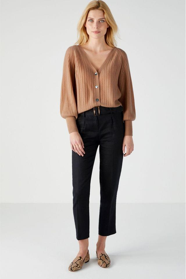 WOMEN Pure Collection Black Laundered Linen Belted Trousers
