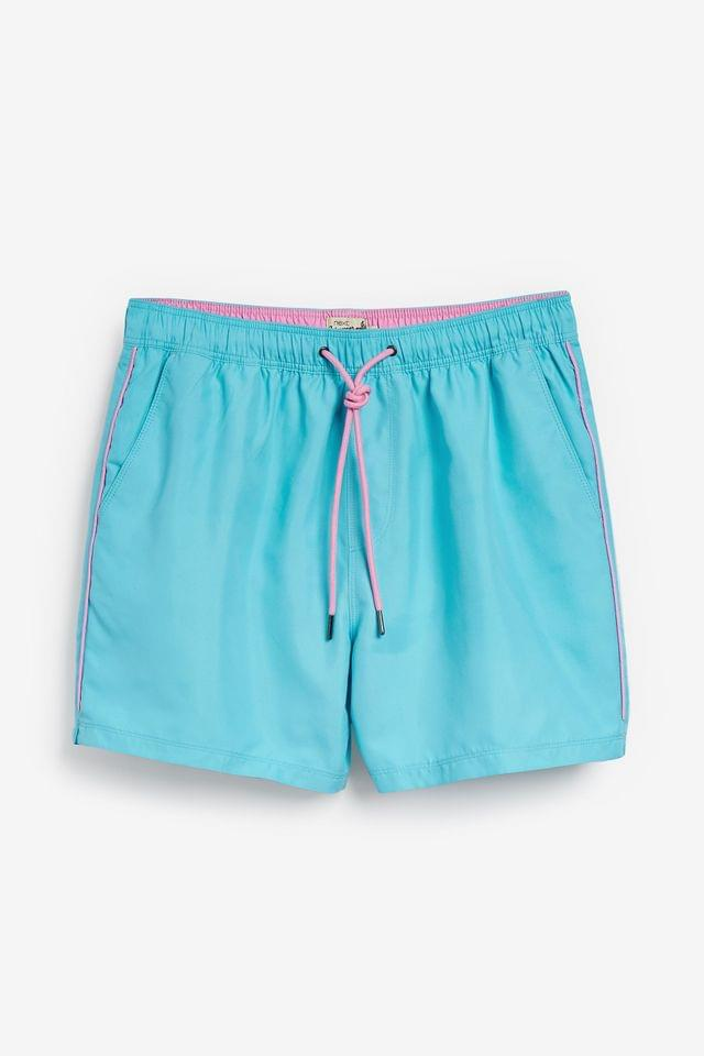 MEN Light Blue Essential Swim Shorts With Piping