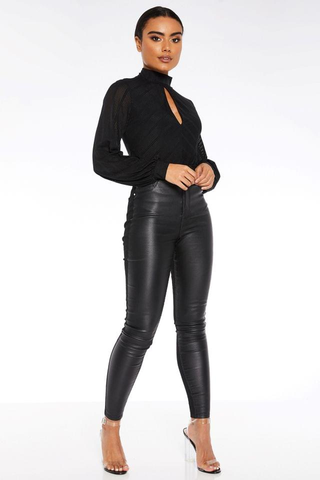 WOMEN Quiz Faux Leather Front Panel Skinny Jeans