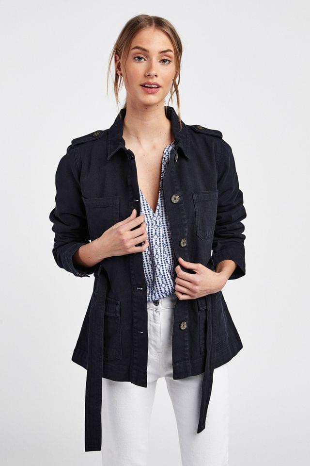 WOMEN Navy Belted Utility Jacket