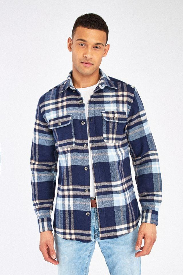 MEN Navy Brushed Flannel Heavyweight Check Shacket