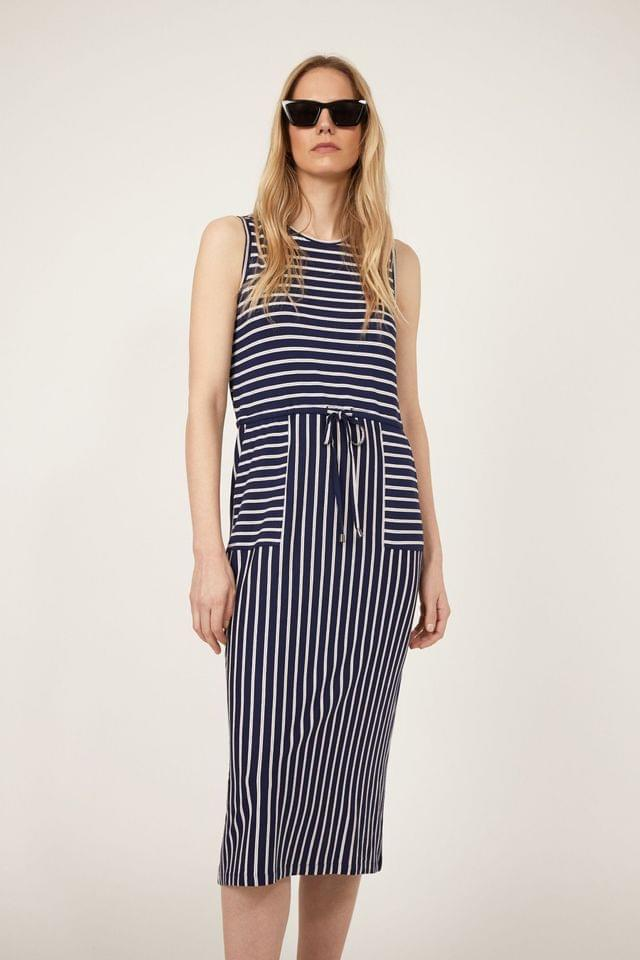 WOMEN Warehouse Blue Stripe Utility Midi Dress